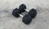DUMBBELL SET – RUBBER HEX 55 TO 75 LBS